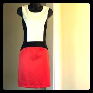 BISOU BISOU sz 6 black red white dress